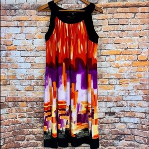 Tiana B Black Coral Purple Floral Shift Dress